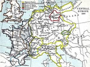 Центральная Европа в 1180 году.